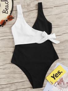 Cut & Sew Surplice Wrap One Piece Swimsuit