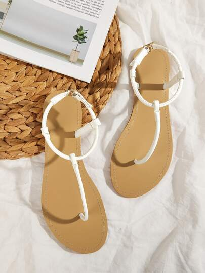 T-strap Toe Post Sandals White Women's Shoes Summer Leather Look Buckle