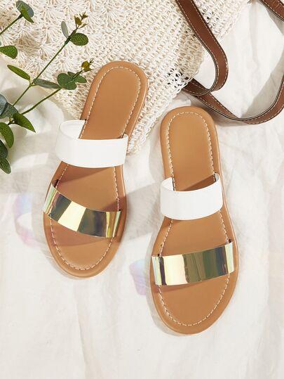 Gold White Slip On Slide Sandals Women's Shoes Summer