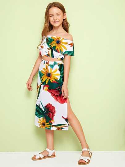 Girls Tropical Print Bardot Top & Split Thigh Skirt Set Two Piece Flower Floral  Vacation