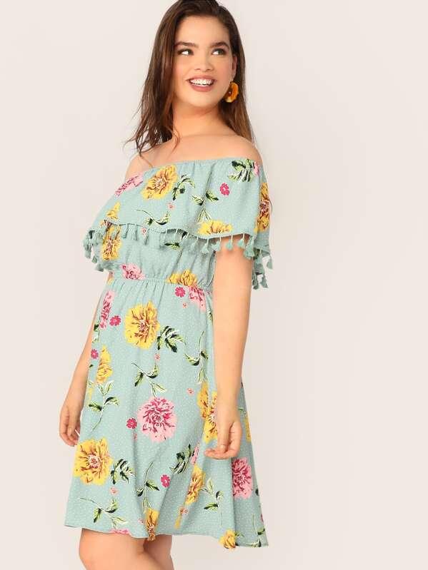Plus Tassel Ruffle Trim Bardot Dress
