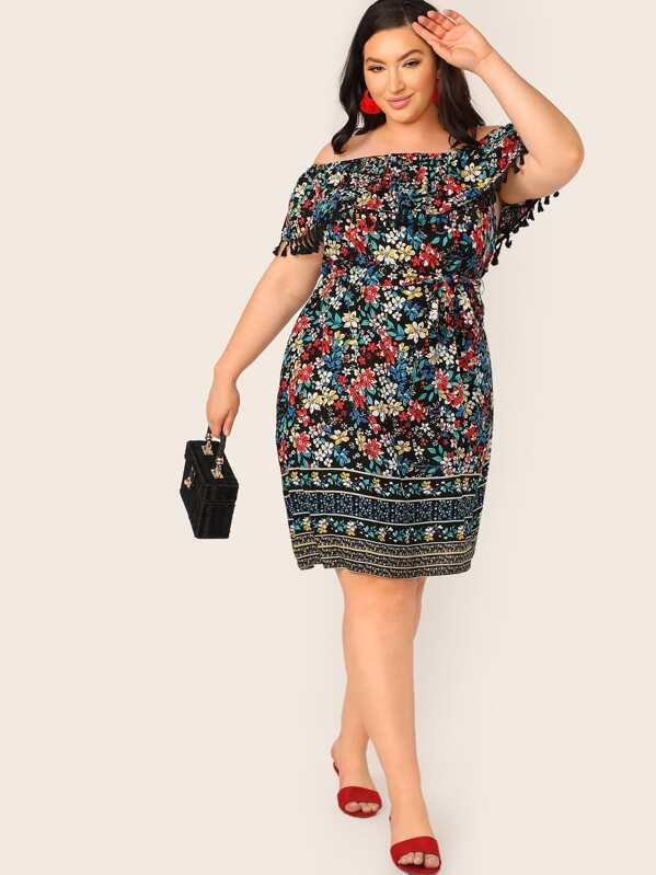 Plus Ruffle Tassel Trim Floral Bardot Dress