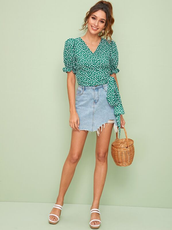 Ditsy Floral Wrap Self Tie Blouse