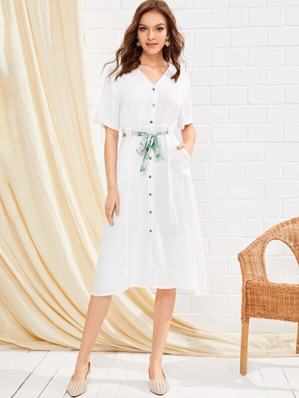 Belted Button Front Shirt Dress