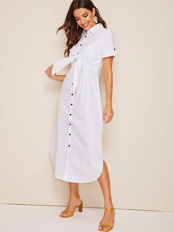 Knot Button Front Curved Hem Shirt Dress