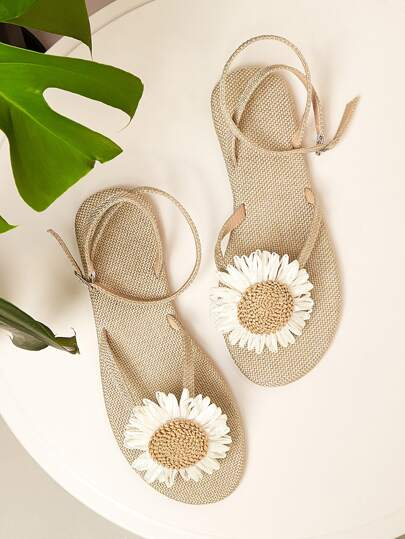 Floral Flower Bohemian Boho Decor Toe Post Sandals Women's Shoes Tan White Summer Sunflower