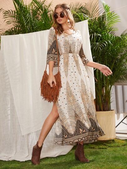 Paisley Print Split Thigh Belted Dress
