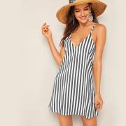 Stripe Print Slip Dress