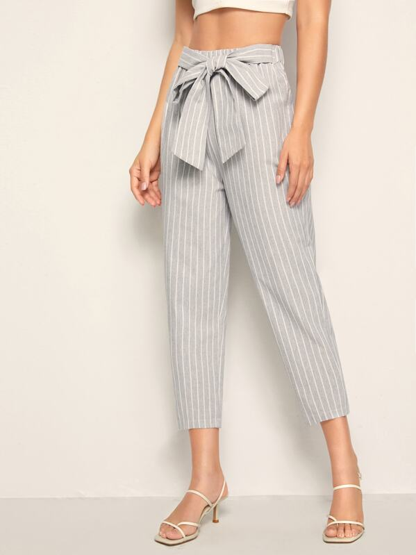 Tie Front Stripe Cropped Pants