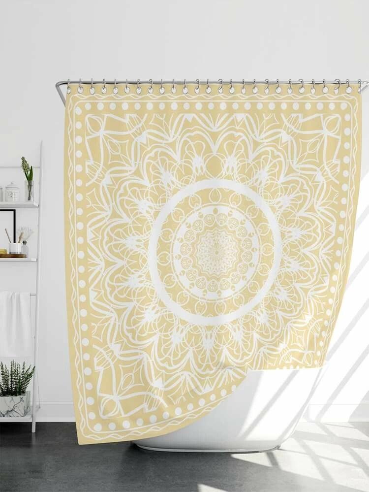 mandala pattern shower curtain 1pc