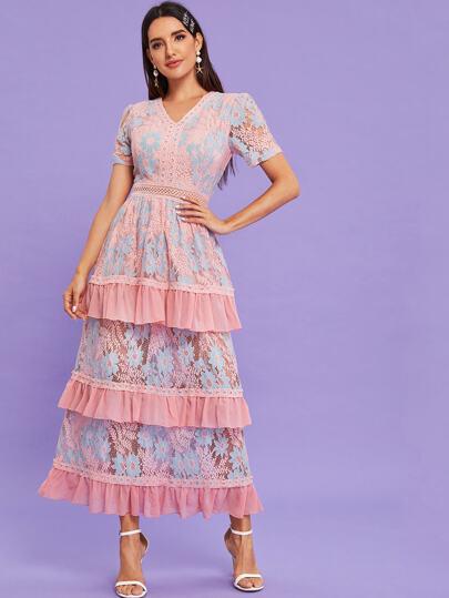 V-neck Layered Hem Formal Lace Dress