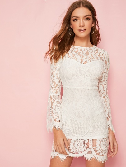long sleeve lace short white embroidered wedding dress