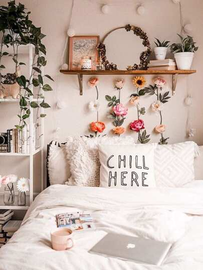 Letter Print Cushion Cover 1pc. Chill Here Pillowcase. Pretty Girl's Room with Flowers on Wall