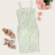 Ditsy Floral Print Bodycon Mini Dress