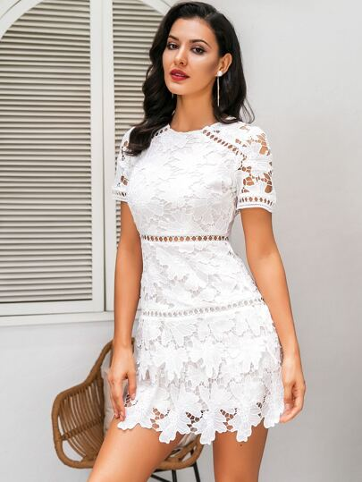 Glamaker Zip Back Guipure Lace Overlay Dress