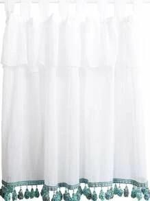 rideau transparent avec pompon