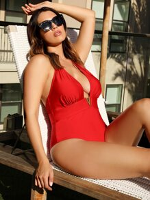 Plus Ruched Open Back Halter One Piece Swimsuit