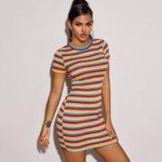 Ribbed Striped Mini Bodycon Dress