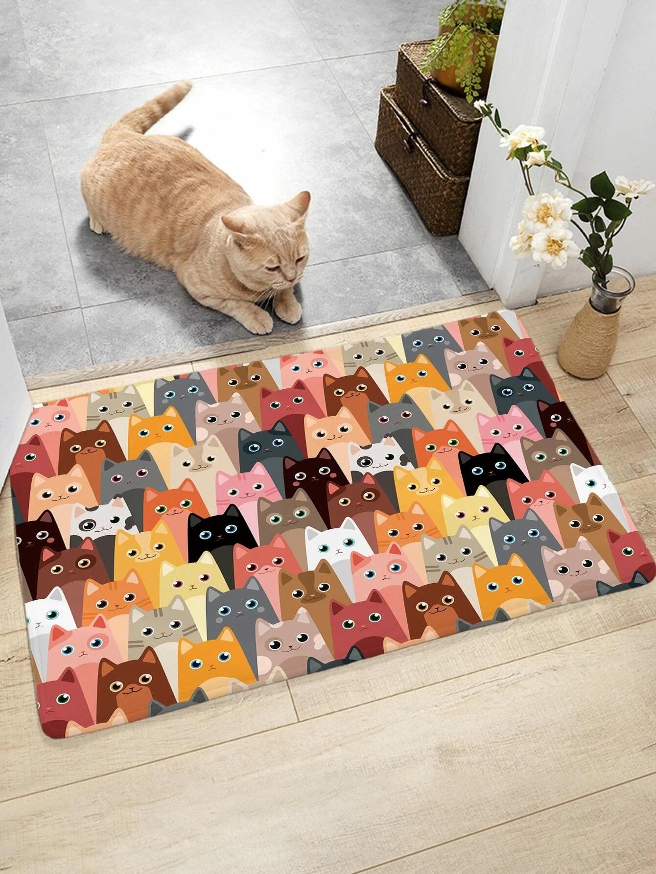 tapis de plancher a motif chat cartoon
