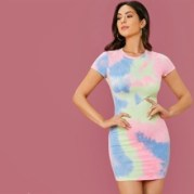 Tie-Dye Wash Bodycon Mini Dress