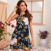 Keyhole Back Sleeveless Floral Print Dress
