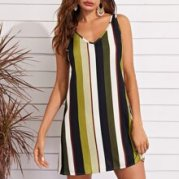 V Neck Striped Tank Dress