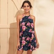 Tropical Print Halter Dress