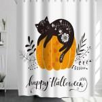 Halloween Cat Print Shower Curtain Shein Usa