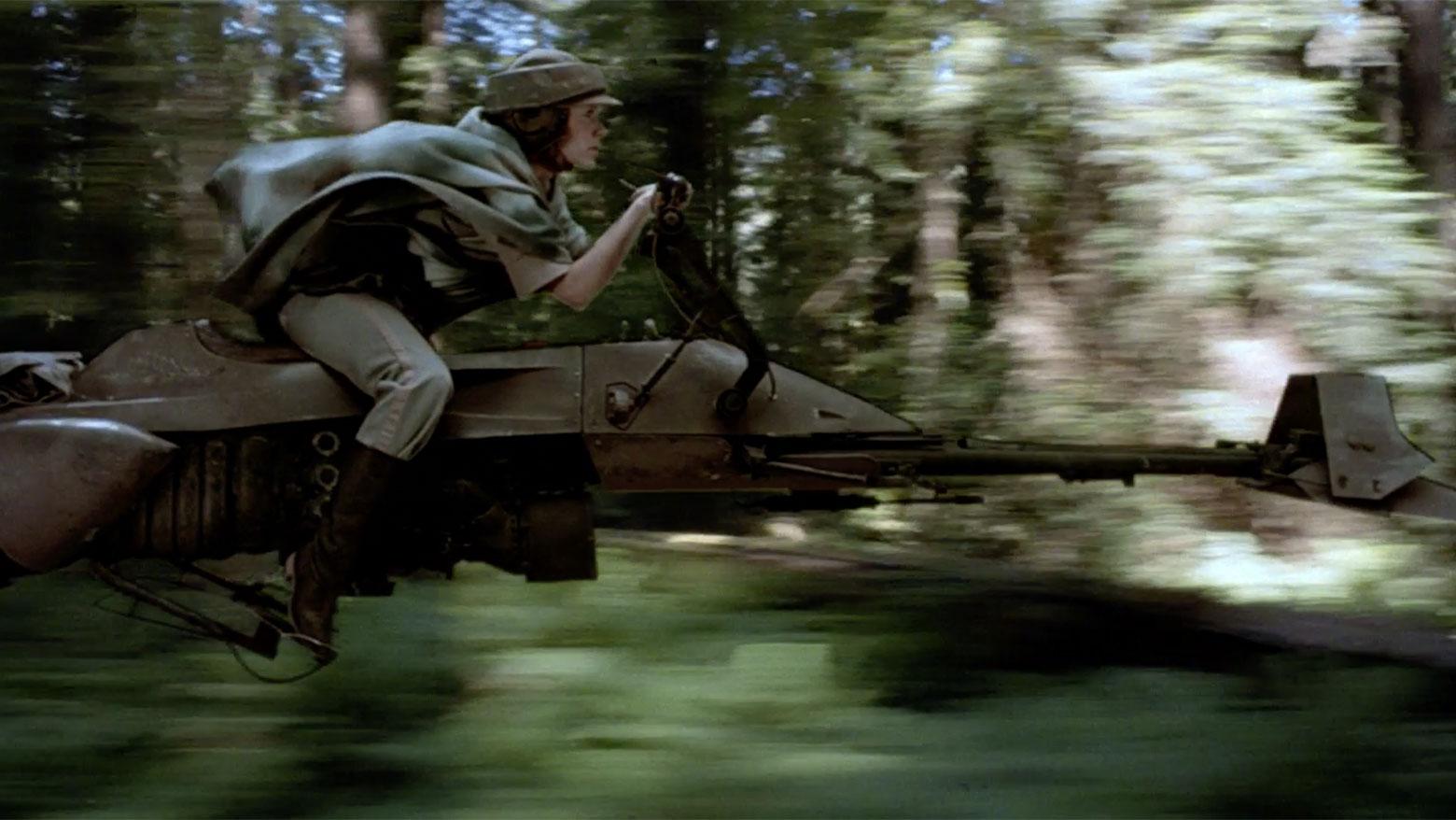 Image result for leia on a speeder bike