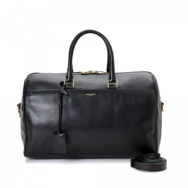 Yves Saint Laurent Classic Duffle 12 Black Leather Shoulder Bag