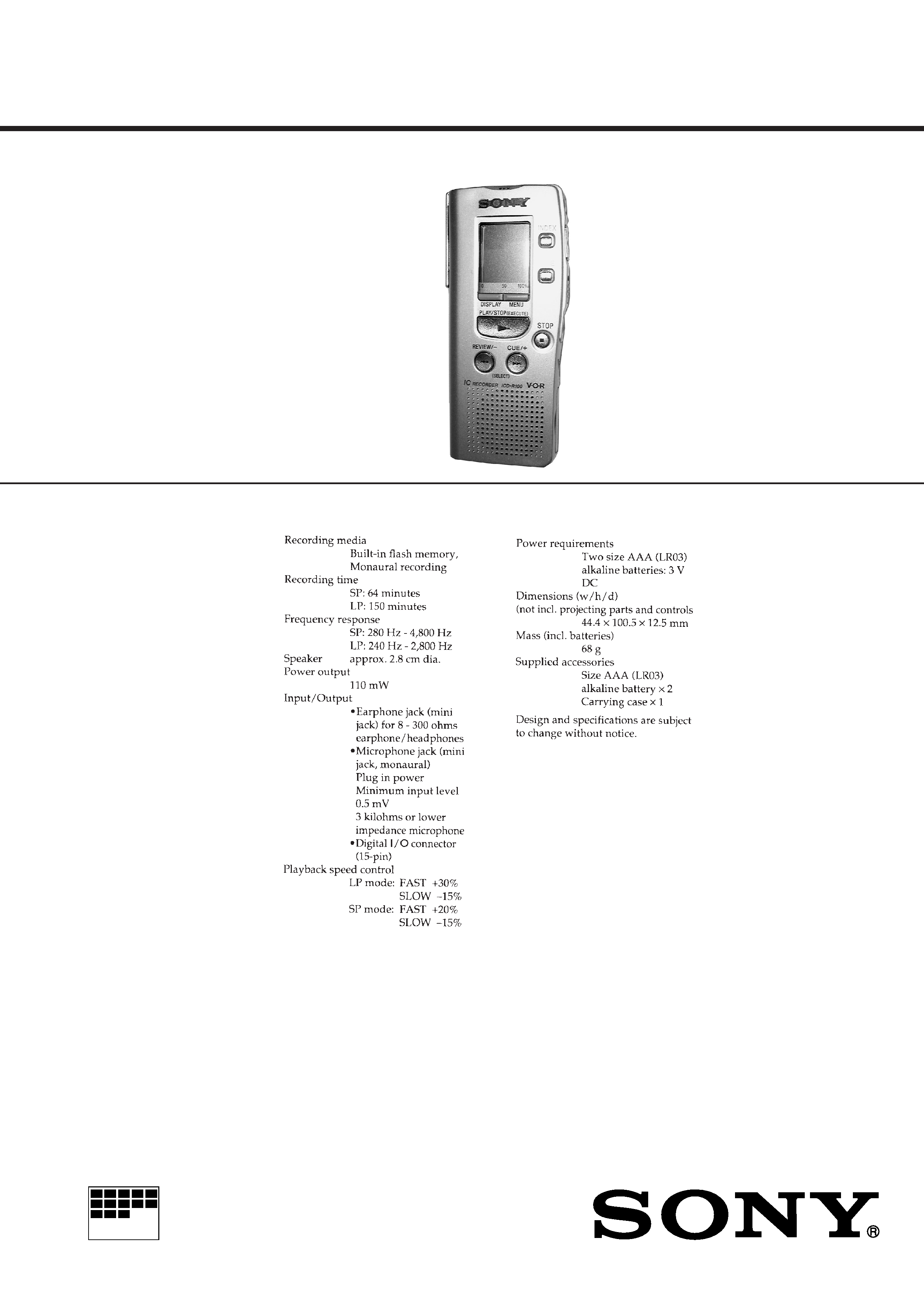 Sony Icdr100