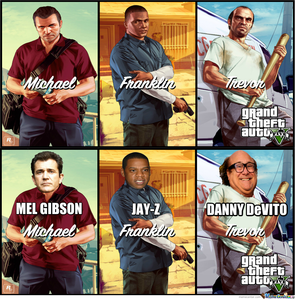 Gta V Main Characters Celebrity Replacements By