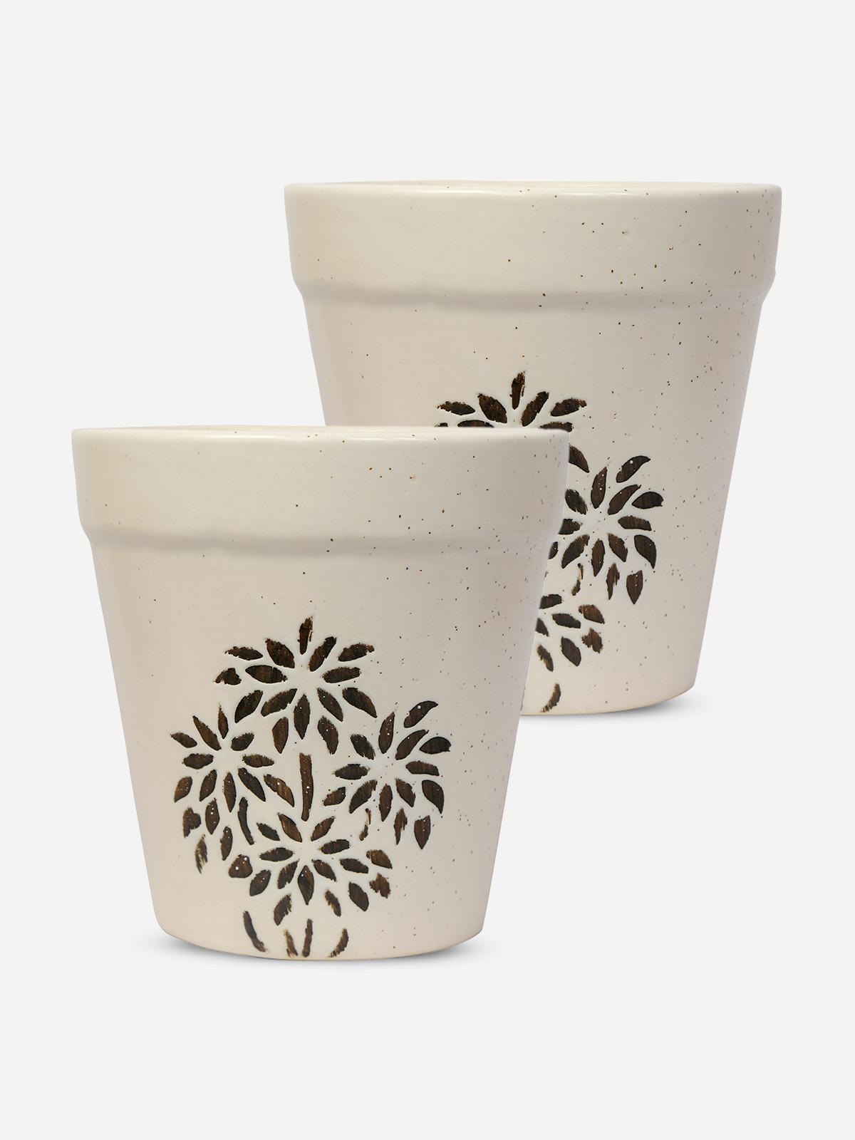 Buy Printed Ceramic Plant Pots Set Of 2 For Men Online At Best Price Cloudnursery