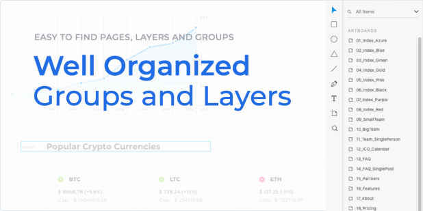 Easy to find pages, layers and groups - Well organized layers