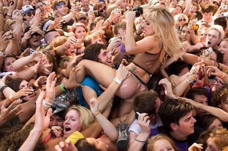 Lady Gaga crowd surfs