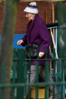 Hero gran Ann Timson arrives at her home in Northampton (Picture: Masons)