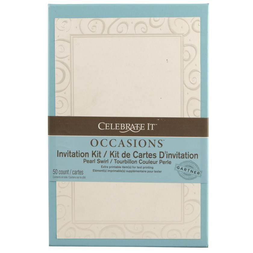 Celebrate It Occasions Invitation Kit Pearl Swirl Heart Border
