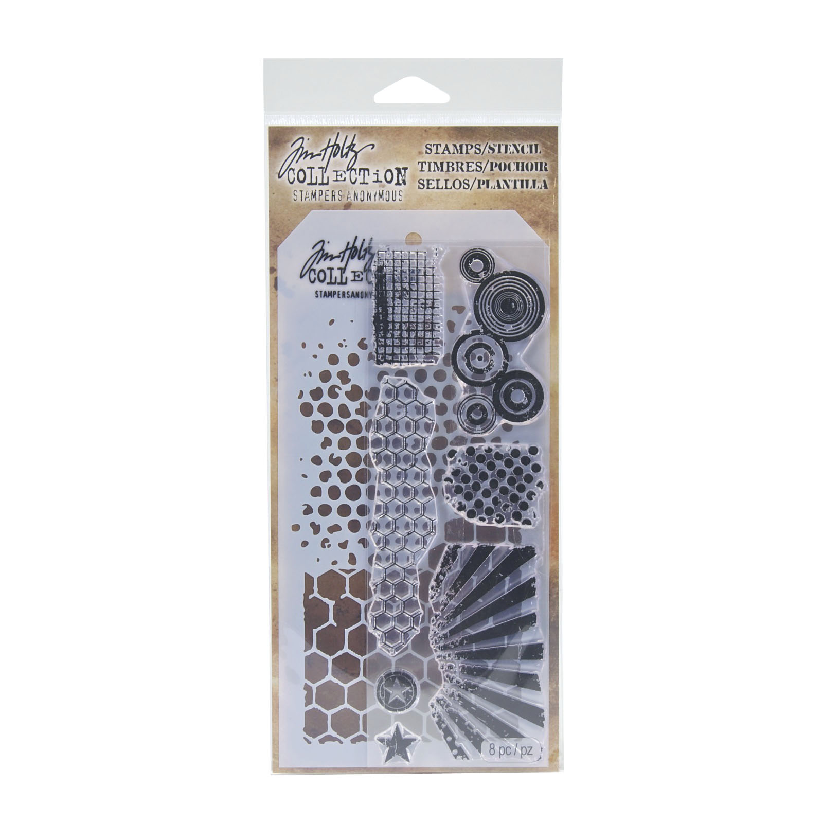 Tim Holtz® Stampers Anonymous Stamps & Stencil Set, Retro Pattern