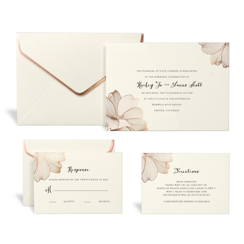 Rose Gold Fl Wedding Invitation Kit By Celebrate It