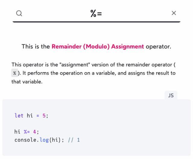 Operator Lookup - Search JavaScript operators