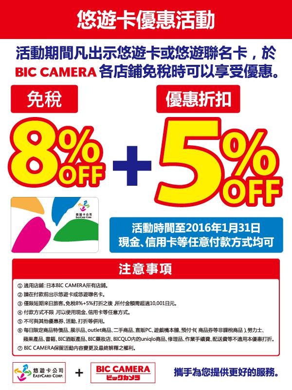 日本 BIC CAMERA 8%+5% 悠遊卡退稅詳細說明!