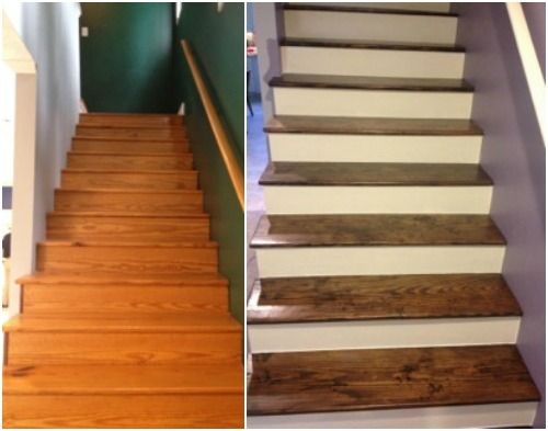 We Paid Cash A New Staircase Money Saving Mom® Money Saving Mom®   Sanding And Staining Stairs   Pine   Stair Railing   Wood Stairs   Stair Case   Stair Risers