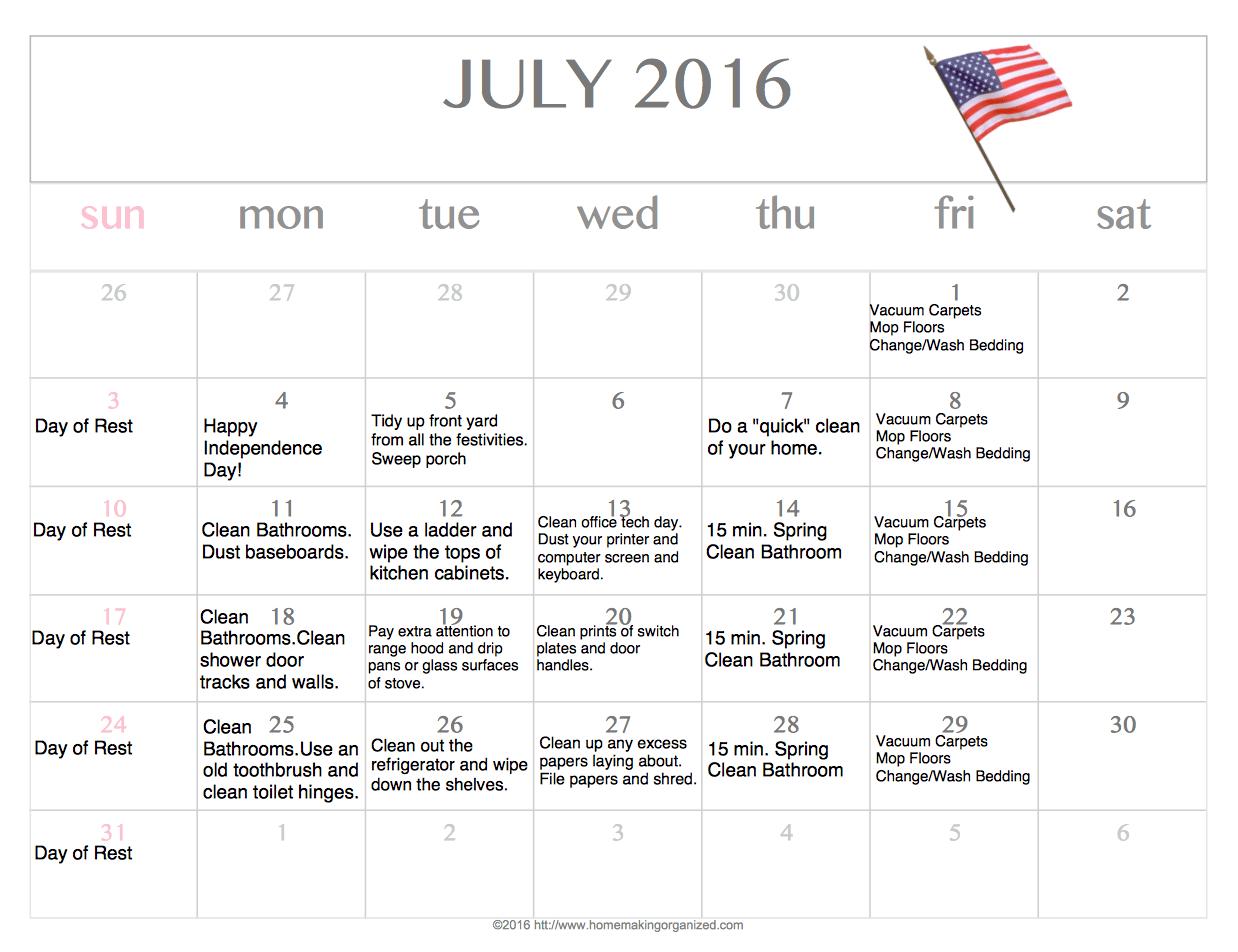 Free Editable Printable July Cleaning Calendar