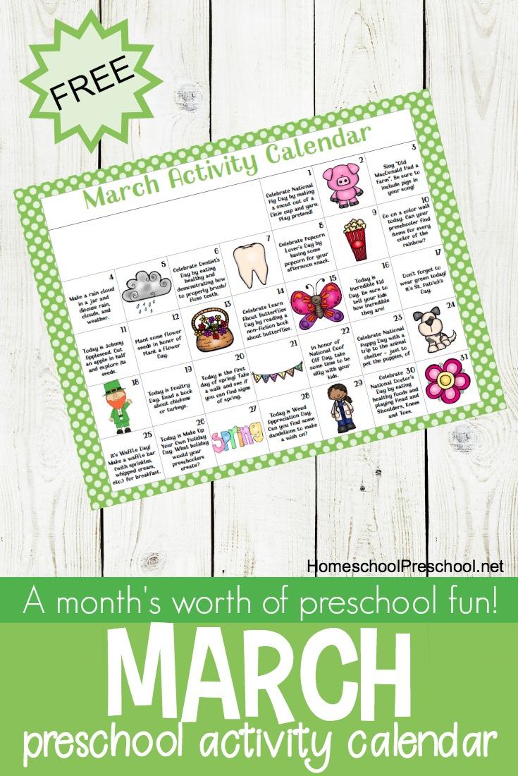Free Printable March Activity Calendar For Preschoolers