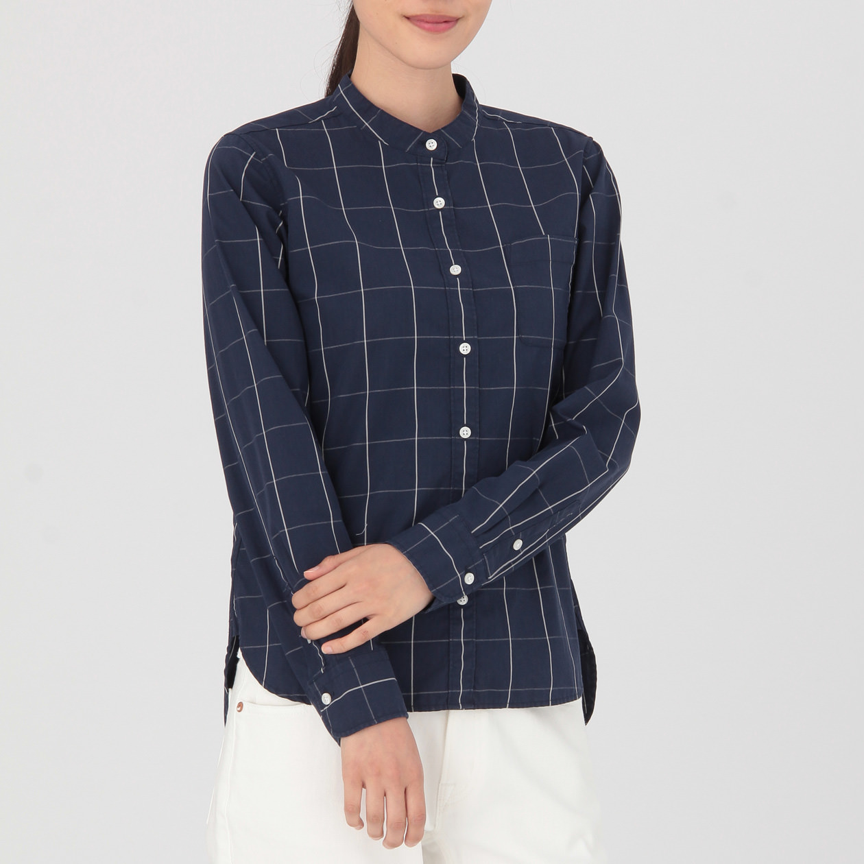 女有機棉水洗窗格紋立領襯衫 深藍S   無印良品