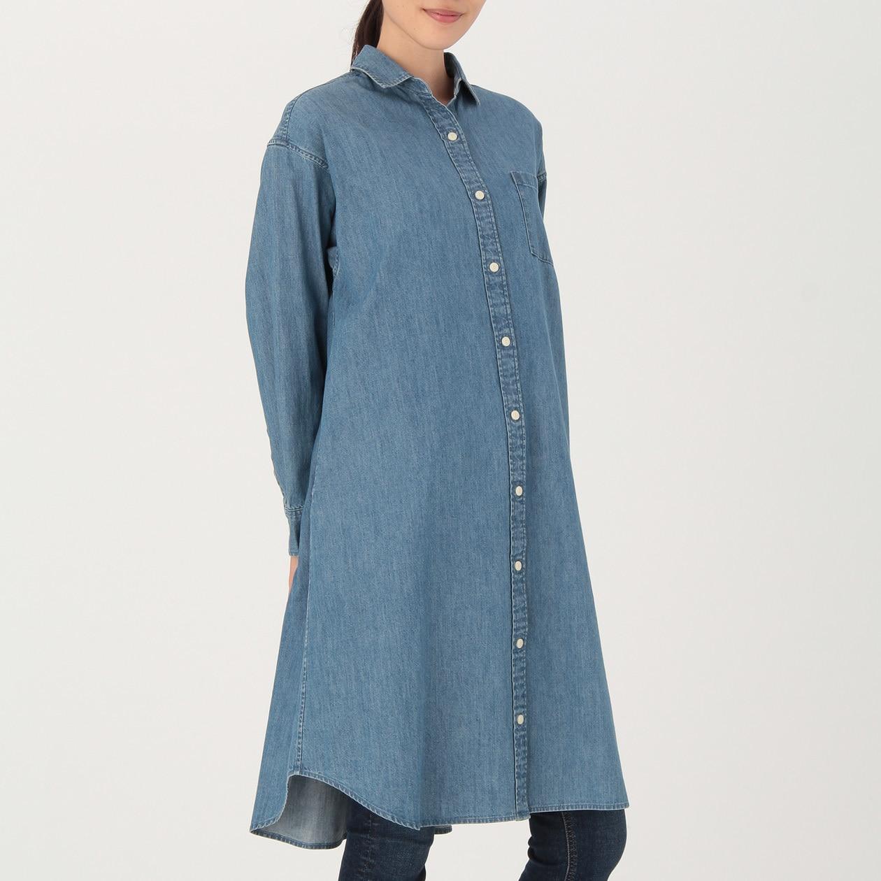 女有機棉丹寧襯衫洋裝 深藍XS~S   無印良品