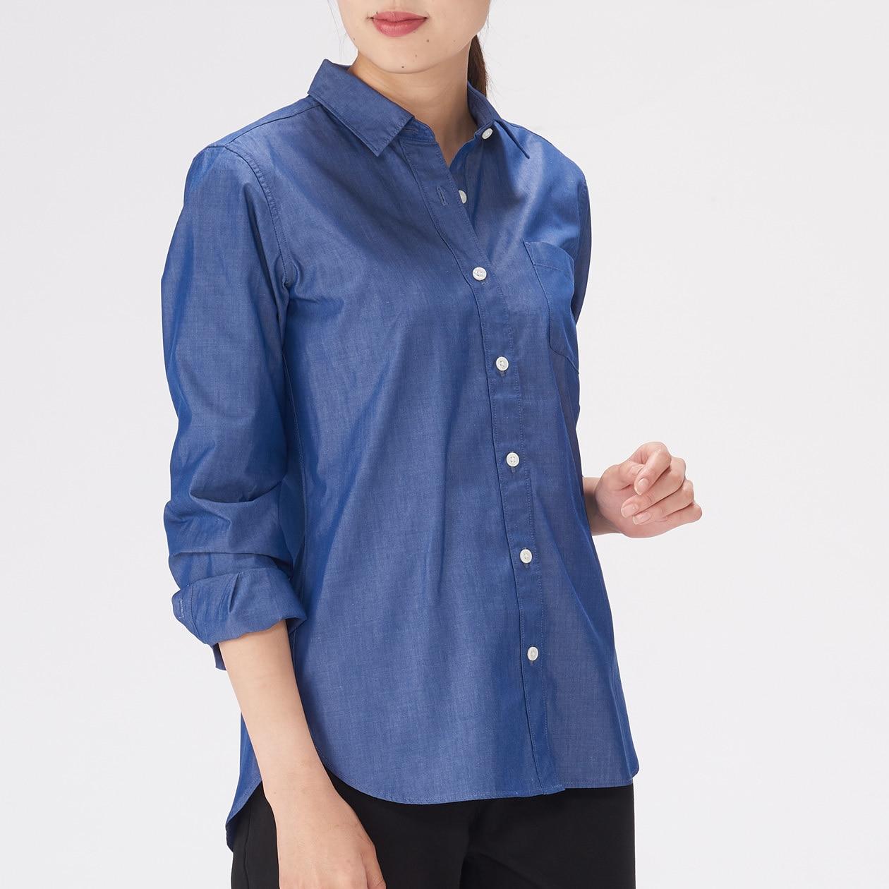 女有機棉水洗平織布襯衫 深藍S   無印良品