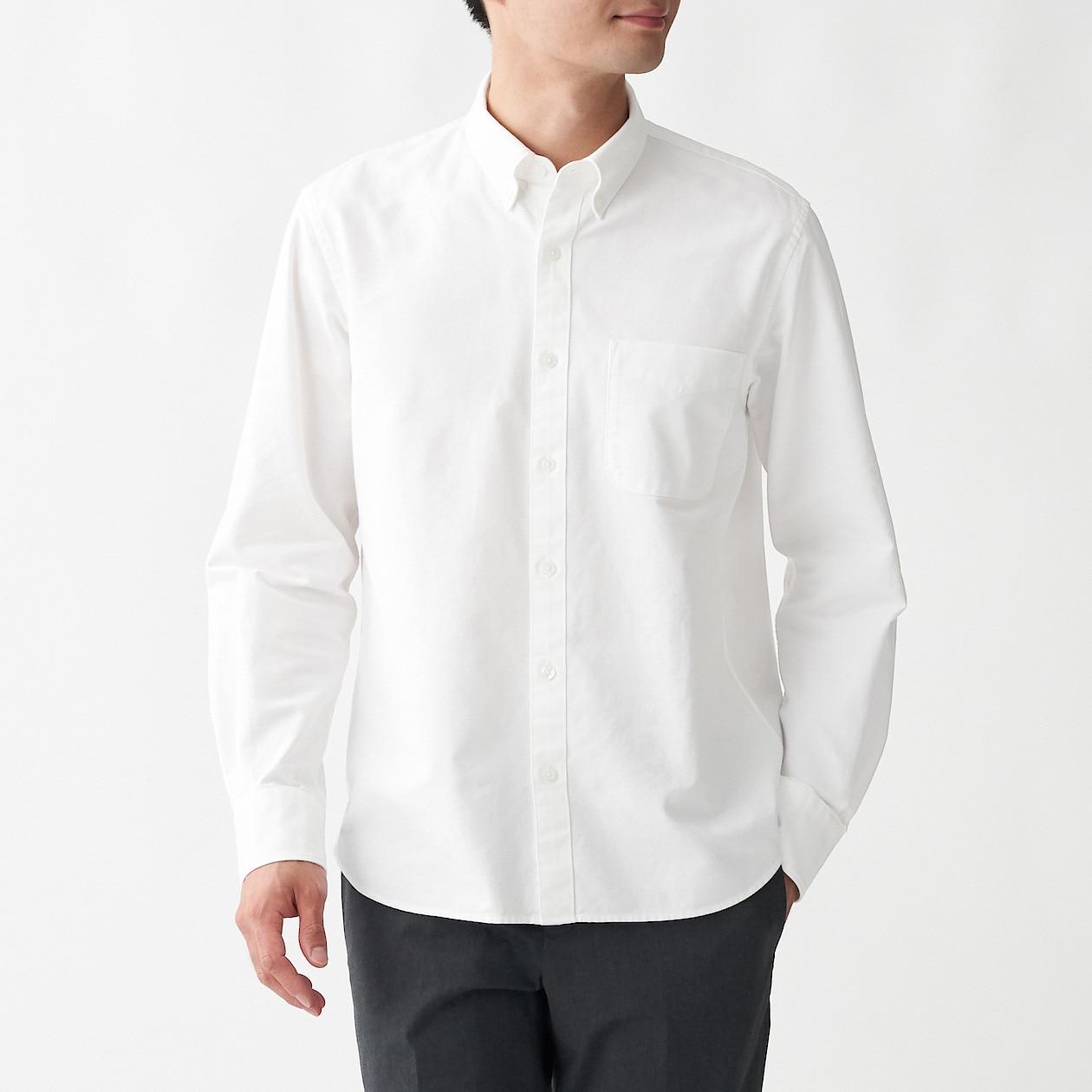 男有機棉水洗牛津布扣領襯衫 白色XS | 無印良品
