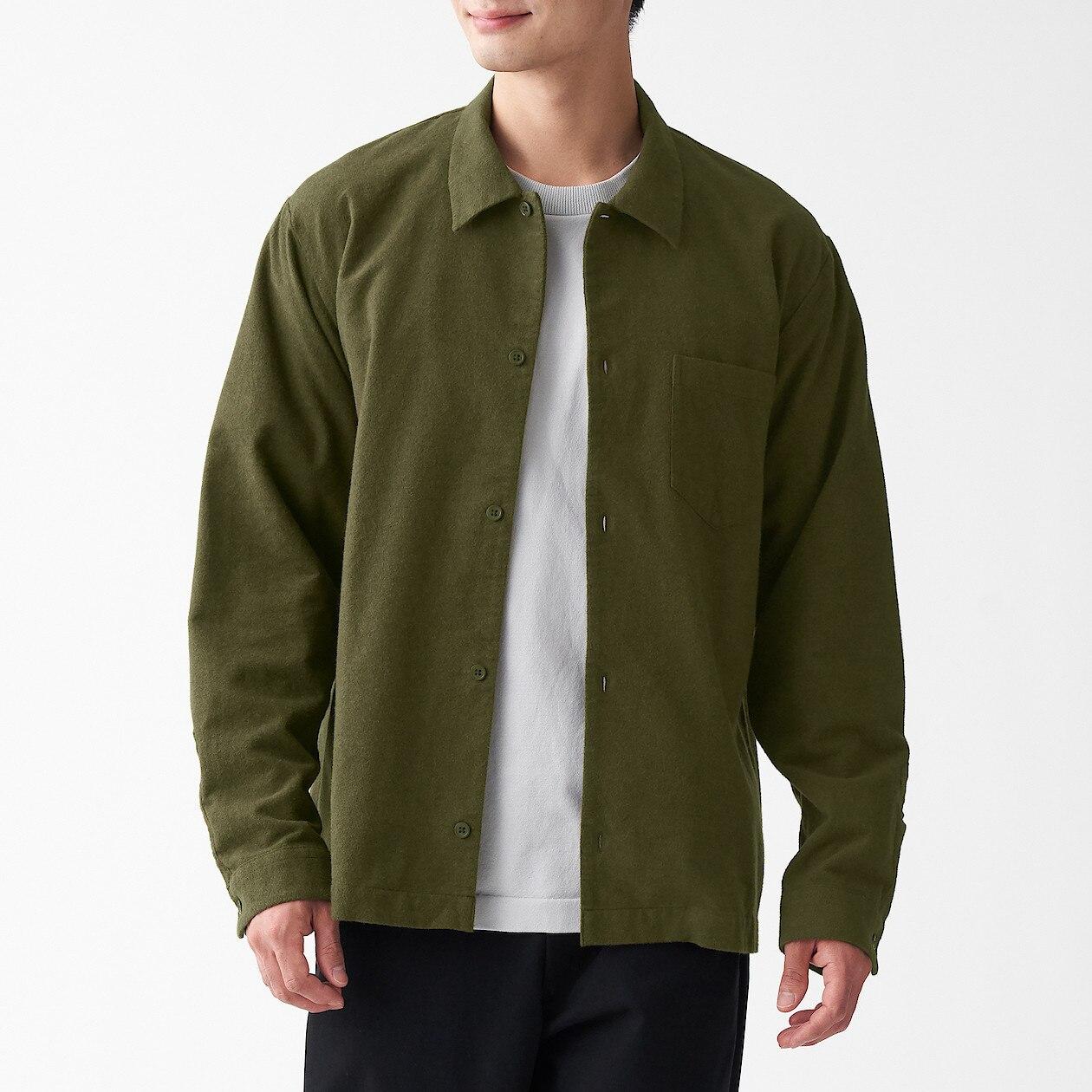 男有機棉法蘭絨方型剪裁襯衫 卡其綠XS | 無印良品