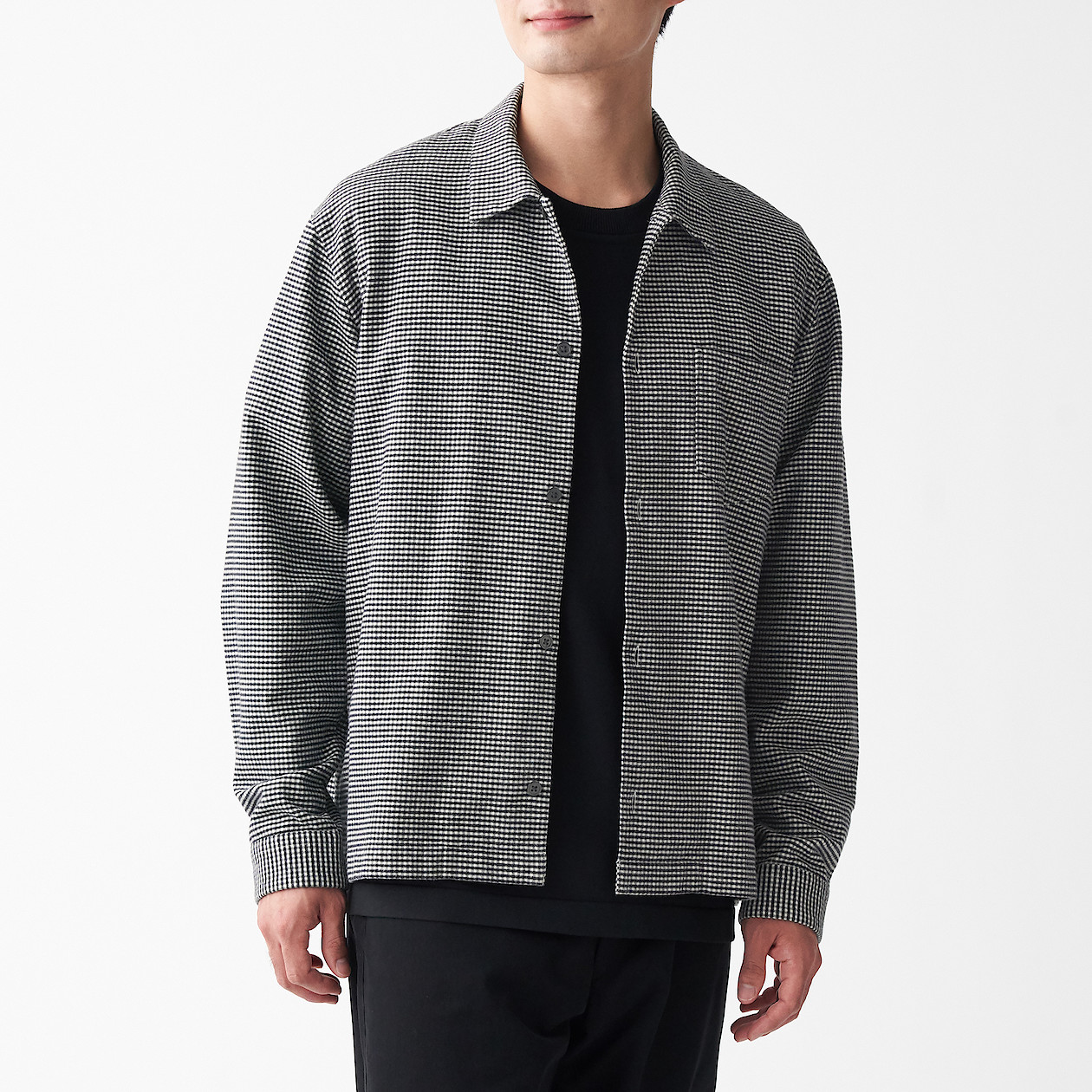 男有機棉法蘭絨方型剪裁襯衫 柔白格紋XS | 無印良品